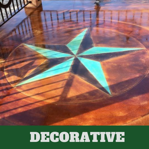 Acid stained decorative concrete floor with blue and black star detail.