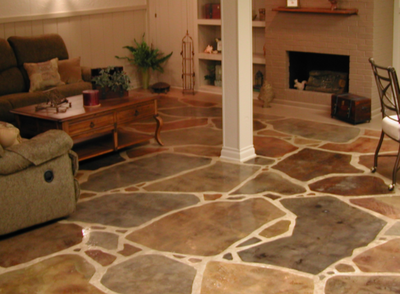 Colored decorative concrete floor inside of home.