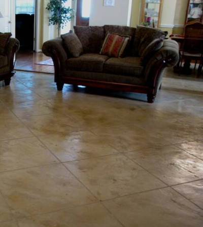 Ceramic tile styled concrete floor.