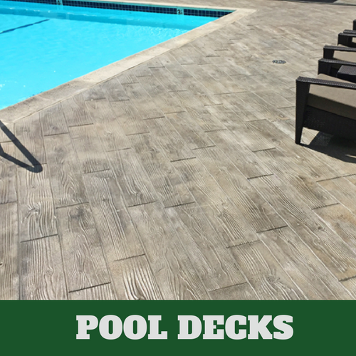 Stamford stamped concrete pool surround with a wood grain finish.